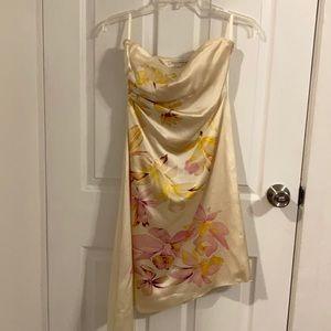 Banana Republic Silk Floral Strapless Dress